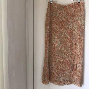 Talbots silk skirt. Faux wrap. Crepe paisley
